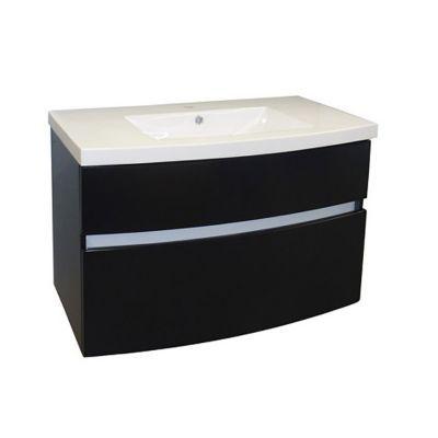Meuble sous vasque nile noir brillant 90 cm
