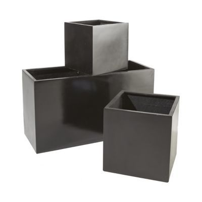 pot cube composite noir 44 x 44 x cm castorama. Black Bedroom Furniture Sets. Home Design Ideas