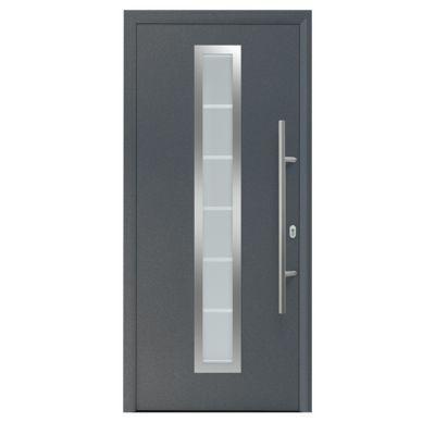 Porte d'entrée Vitrée grise 90 x h.215 cm poussant droit