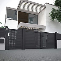 Portail Jardimat aluminium Mamirolle noir volcan 2100 sablé - 300 x h.136,7 cm