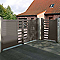 Portail aluminium Tessy gris taupe 7037 sablé - 350 x h.128,6 cm