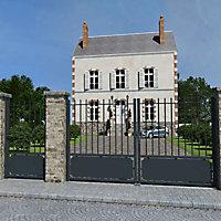 Portail Jardimat aluminium Velizy gris 7016 - 350 x h.180 cm