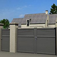 Portail Jardimat aluminium Annoire gris antique sablé - 300 x h.179 cm