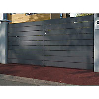 Portail Jardimat aluminium Samson gris 7016 sablé - 350 x h.143 cm