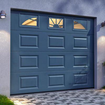 porte de garage sectionnelle hublots grise x. Black Bedroom Furniture Sets. Home Design Ideas