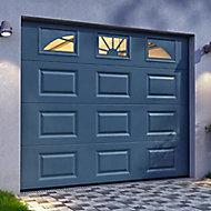 Porte de garage sectionnelle Hublots grise - L.240 x h.200 cm (pré-montée)