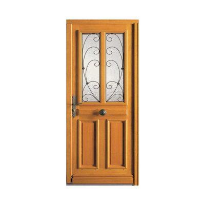 Porte d'entrée bois exotique Lorris 90 x h.215 cm poussant droit