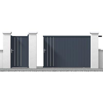 Portail Coulissant Aluminium Valois Gris 7016 Sable 400 X H 180 Cm Castorama