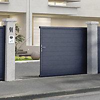 Portail Jardimat coulissant aluminium Alpes gris antique - 350 x h.171 cm