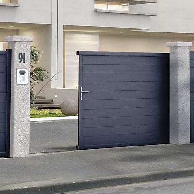Portail Coulissant Aluminium Alpes Gris Antique 400 X H 171 Cm Castorama
