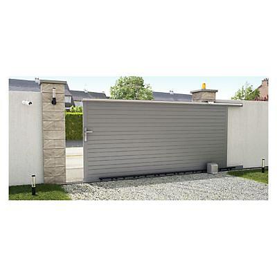 Portail Coulissant Aluminium New Auteuil Gris 7037 Sable 300 X H 155 Cm Castorama