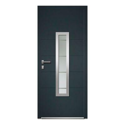 Porte d'entrée aluminium 4 ALU Fiacre gris 90 x h.215 cm poussant droit   Castorama