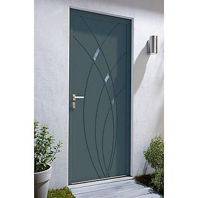 Porte D Entree Aluminium 4 Alu Zoe Gris 90 X H 215 Cm Poussant Droit Castorama