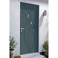 Porte d'entrée aluminium 4 ALU Zoé gris 90 x 215 cm poussant gauche