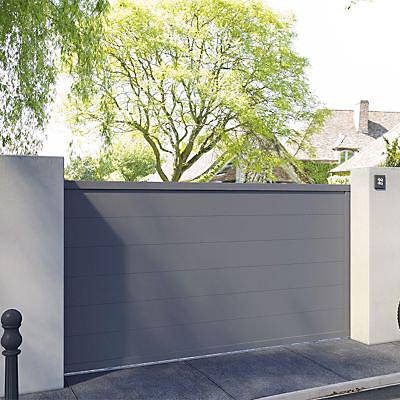Portail Coulissant Aluminium Chalon Gris 7016 Sable 400 X H 160 Cm Castorama