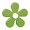 6 boutons de meuble Fleur résine vert 4,1 x 2,4 cm
