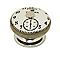 Bouton horloge porcelaine métal blanc Ø38mm