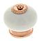 4 boutons de meuble porcelaine blanc/ cuivre 4 x 4,1 cm