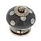 4 boutons de meuble porcelaine gris à pois blancs 4 x 4 cm