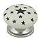 4 boutons de meuble Etoiles Noires porcelaine 3,8 x 2,5 cm