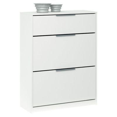meuble chaussures 2 abattants 1 tiroir blanc castorama. Black Bedroom Furniture Sets. Home Design Ideas