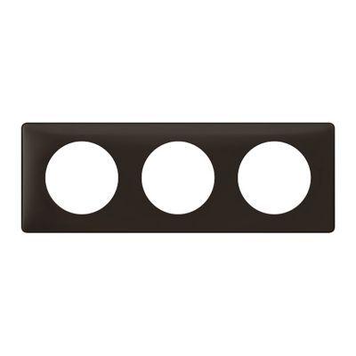 Plaque Céliane 3 postes Poudré Basalte. Personnalisez votre intérieur avec un large choix de couleurs et matières de plaques décoratives Céliane. Fonction / type : Plaque triple - Usage du produit : Plaque de finition décorative - Finition : LES POUDREES