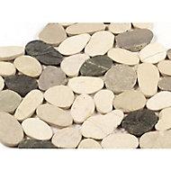Galets blanc/gris/cappuccino 30 x 30 cm