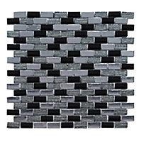Mosaïque 30 x30 cm mix verre noir et gris