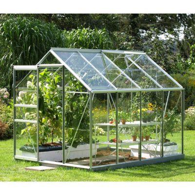 Envie de cultiver vos plantes potagères toute l'année ou de protéger les plus fragiles pendant l'hiver ? La serre en verre 5000 répondra à vos besoins. Sa structure verre et aluminium comprend'une lucarne de toit pour faciliter sa ventilation. Elle s'inté