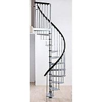 Escalier hélicoïdal métal Industria galva Ø155 cm 11 marches acier galvanisé brut