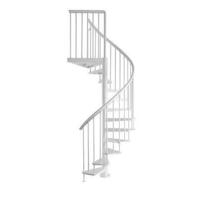 Escalier hélicoïdale Industria white Ø 125 cm, 16 marches. Matière de l'ossature : Acier laqué blanc. Matière des marches : Acier laqué blanc. Matière du garde-corps : Balustres en acier laqué blanc et main courante en polyuréthane blanc. Nombre de marche