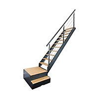 Escalier 1/4 tournant droit/gauche avec rangement métal/bois Spark Led 13 marches chêne