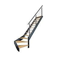 Escalier 1/4 tournant droit métal et bois Spark Led 13 marches chêne