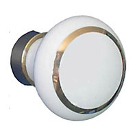 Bouton de meuble porcelaine COLOURS Tia blanc/doré Ø30 mm