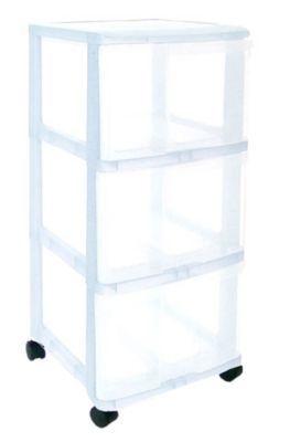 tour de rangement 3 tiroirs en plastique wave transparente castorama. Black Bedroom Furniture Sets. Home Design Ideas