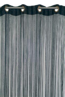 Rideau de fils Teze COLOURS - Matière : En 100% viscose - Dimensions : Largeur 110 x Hauteur 240 cm - Coloris : Noir avec lisères argent - Finition oeillets.