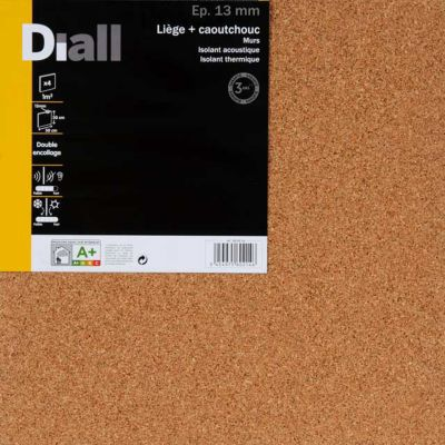 Dalle De Liège Et Caoutchouc Diall Isolmur 130 50 X 50 Cm