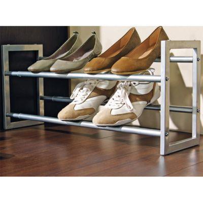 - Porte-chaussures extensible Pratik - Porte chaussures : Fer finition poudre époxy. Dimensions : L. 60 à 102 x P. 18,5 x H. 30 cm. Pour 6 à 10 paires de chaussures. Garantie : 3 ans -