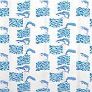 Rideau de douche en textile bleu 180 x 200 cm Mosaïc