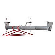 Tringle télescopique aluminium chromé Ø2,5 cm de 110 à 200 cm avec support