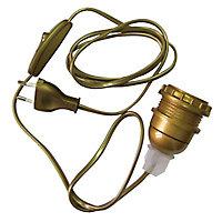 Adaptateur bouteille Diall E27 interrupteur + prise or