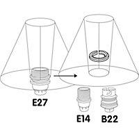 2 bagues de réduction d'abat-jour Diall E27 / B22-E14 noir
