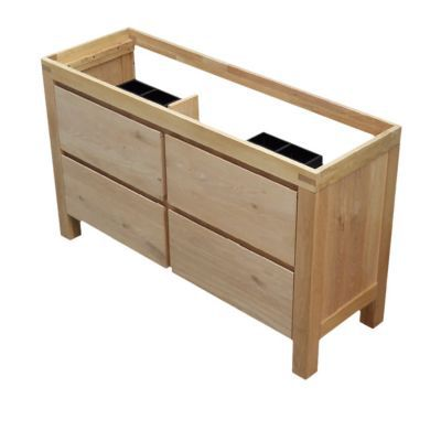 2 faades meuble sous vasque en chne massif cooke lewis harmon 140 cm - Meuble Sous Vasque Castorama
