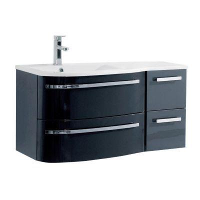 Meuble sous vasque gris 2 tiroirs version gauche COOKE & LEWIS Elbe 100 cm
