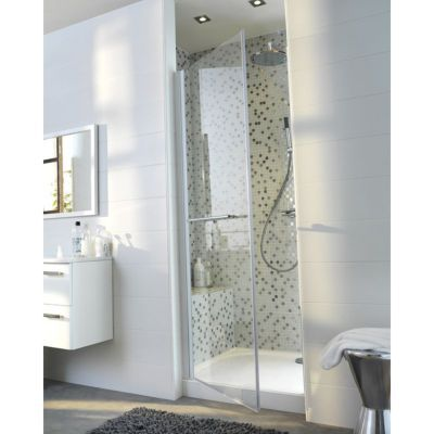 porte de douche pivotante cooke lewis vikos transparente 80 cm castorama. Black Bedroom Furniture Sets. Home Design Ideas
