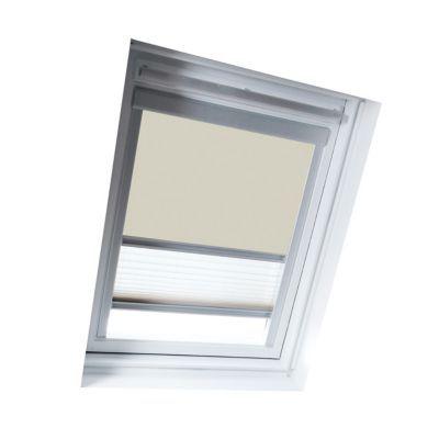 Store duo Beige M04. Pour fenêtre de toit. Matière : Tissu 100% polyester, revers thermique. Profils et cadre en aluminium anodisé. Plissé tamisant. Blocage à niveau. Dimensions : l.78 x h.98 cm. Coloris : Beige et blanc. Compatible avec les produits Velu