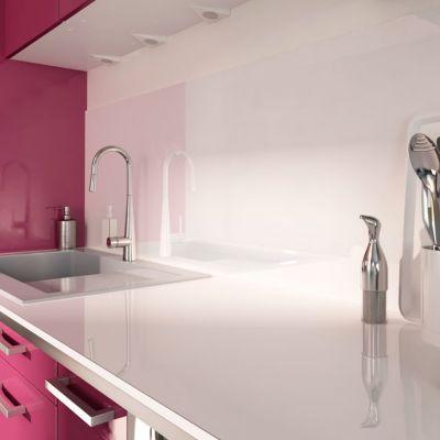cr dence stratifi e aspect verre blanc 300 x 64 cm castorama. Black Bedroom Furniture Sets. Home Design Ideas