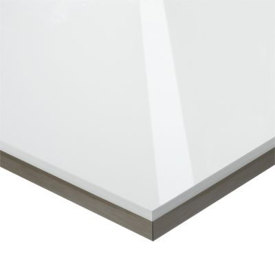 Plan De Travail D'Angle Stratifié Effet Verre Blanc 97,7 X 65 Cm
