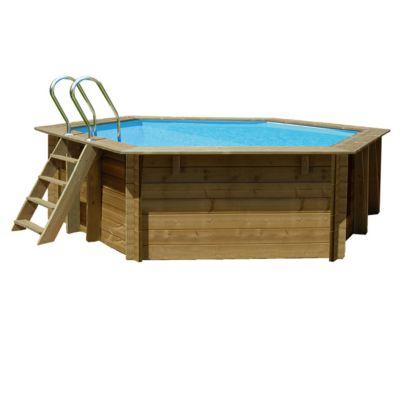 piscine bois blooma lunda ø4 12m liner bleu