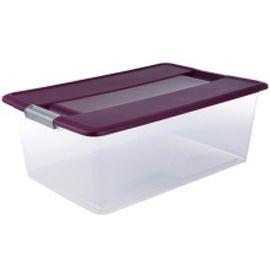 bo te de rangement avec couvercle en plastique kliker 35l coloris violet castorama. Black Bedroom Furniture Sets. Home Design Ideas